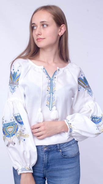 Вишита блузка «Блакить» - Косівська Вишиванка