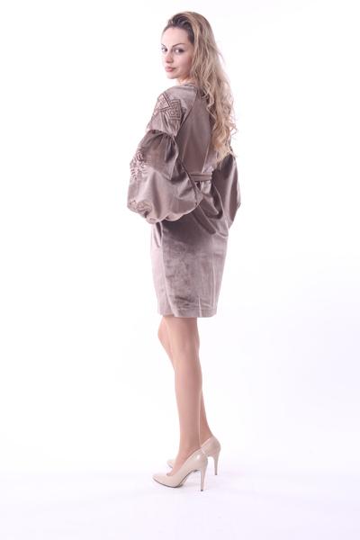Коричнева сукня велюр - Косівська Вишиванка