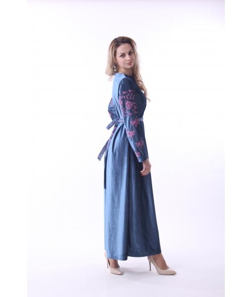 Синя вишита сукня велюр - Косівська Вишиванка